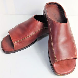 Cole Haan Womens Slides 5.5 B Red Leather Slip Ons
